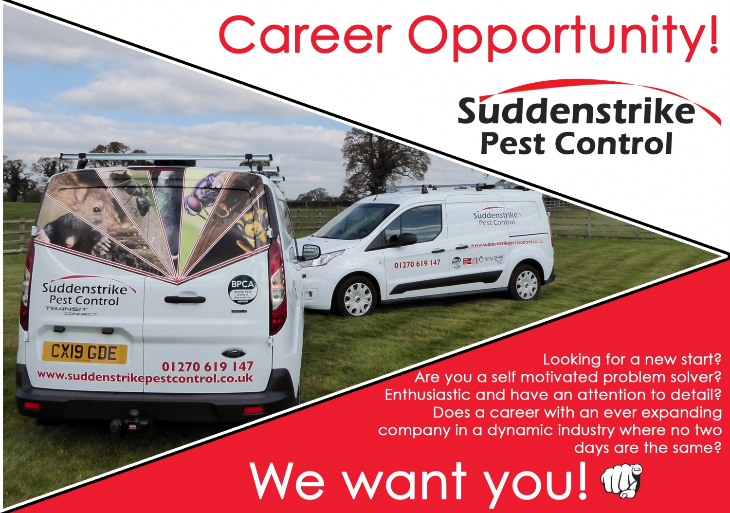 Suddenstrike Cheshire | Pest Control Services | Job advert